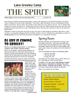 Lake Greeley Camp April Newsletter